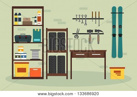 Flat garage inside. Working place with tools in storeroom. Garage interior. Tools worker tools tires hummer boxes shelves skis table in store. Vector interior illustration.