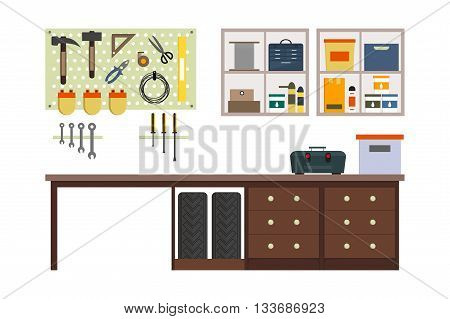 Flat garage inside. Working place with tools in storeroom. Garage interior. Tools worker tools tires hummer boxes shelves table in store. Vector interior illustration.
