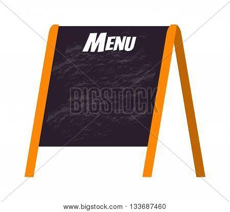 Wooden menu board isolated on white and store black board menu frame. Chalkboard cafe menu board and design vintage lunch wooden menu board. Retro blackboard business breakfast menu.
