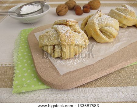 Baked snowball shortcrust pastry with powdered sugar