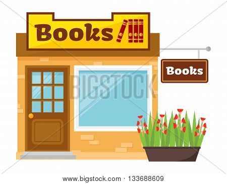 Vector illustration of bookstore, books shop library, bookshelf, various books shop. Flat design books shop. Education literature shop, school student market books shop retail interior bookshelf.