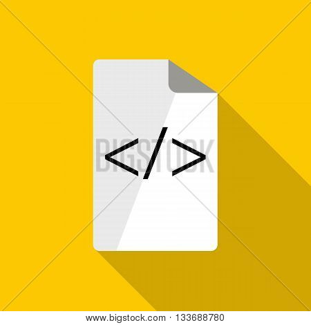 Greater than less than icon in flat style on a yellow background