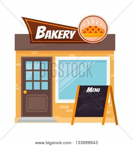Bakery shop building facade with signboard. Flat style illustration bakery shop or bakery shop icon. Bakery shop vector fresh cafe market. Sweet french retail baker bakery house shop facade.