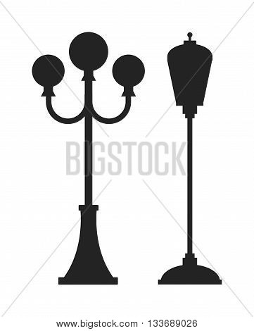 Street lamp black silhouette retro metal street object electricity industry and vintage street lamp black silhouette vector. Street lamp flat vector illustration. Street lamp black silhouette