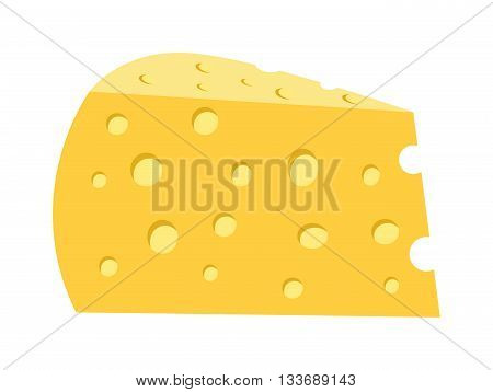 Cheddar cheese slice on white background. Food healthy product, snack frash milk gourmet breakfast vector illustration. Fresh cheese slice and healthy cheese slice. Gourmet cheese slice.