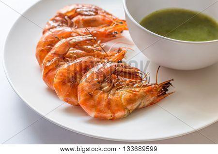 Colorful Delicious Grilled Shrimp With Spicy Seafood Sauce,  Closeup - Frozen Shrimp, Fresh Shrimp,