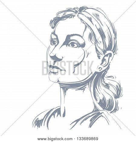 Monochrome vector hand-drawn image romantic young woman. Black and white illustration of contemplative girl.