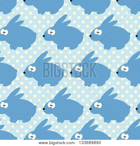 Seamless pattern with rabbits on blue dotted background. For cards, invitations, baby shower albums, textile, backgrounds and scrapbooks. Can be used for wallpapers. Vector illustration.