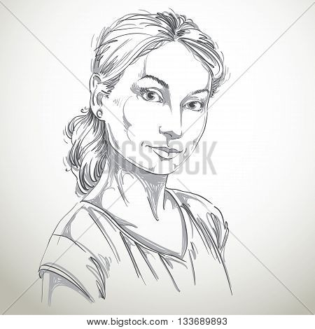 Hand-drawn art portrait of white-skin romantic woman face emotions theme illustration. Beautiful lady posing on white background tenderness.