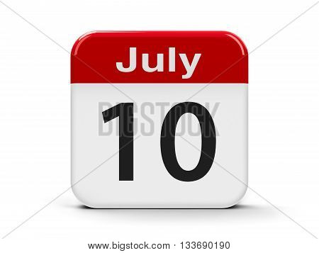 Calendar web button - The Tenth of July three-dimensional rendering 3D illustration