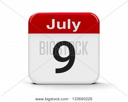 Calendar web button - The Ninth of July - Independence Day in Argentina three-dimensional rendering 3D illustration