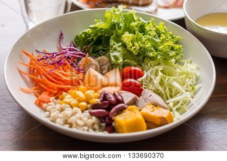 Mixed Salad With Tomatoes, Corn, Carrots, Cantaloupe, Red Beans, Millet, Taro, Cabbage, Bananas, Pum