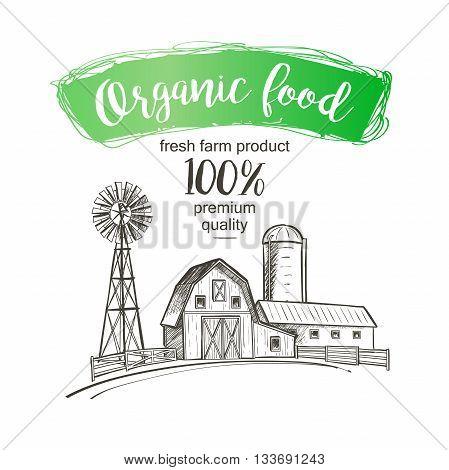 Farm windmill barn fence house field. Vintage illustration.