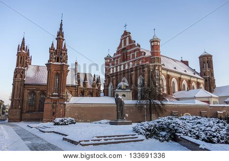 St. Anne's Church And The Church Of The Bernardine Monastery Under Snow In Vilnius, Lithuania.