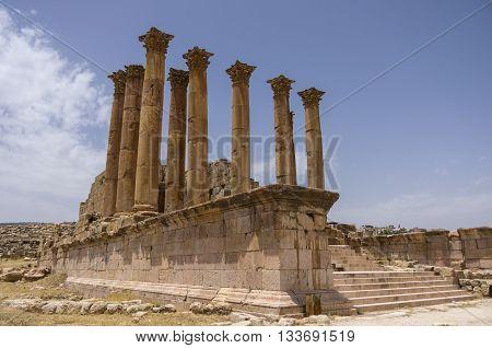 Temple Of Artemis In The Ancient Roman City Of Gerasa, Preset-day Jerash, Jordan