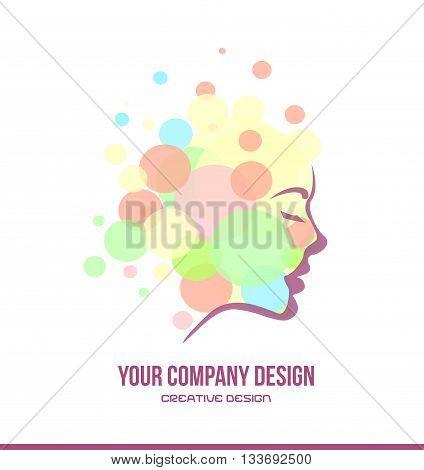 Vector company logo icon element template cosmetics beauty products woman face contour profile bubble