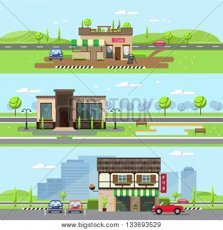 Stock vector illustration city street with cafe and restaurant pub in flat style element for infographic website icon games motion design video