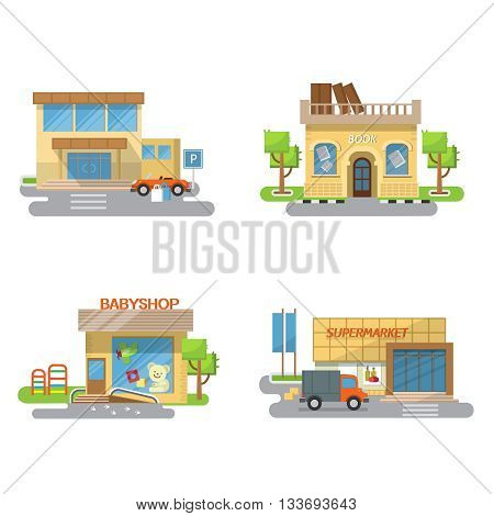 Vector illustration of a supermarket babyshop bookstore on a white background. The building supermarket babyshop bookstore isolated
