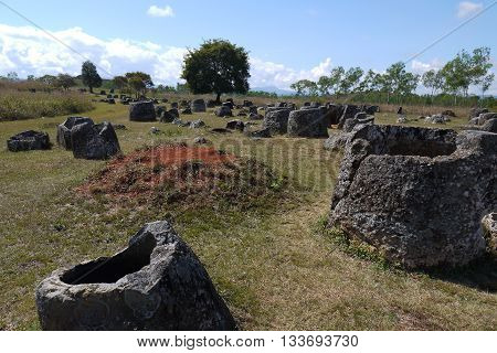 The Ancient Plain of Jars, Xieng Khouang Province Laos. Not much is known about how or why these mysterious jars are here.