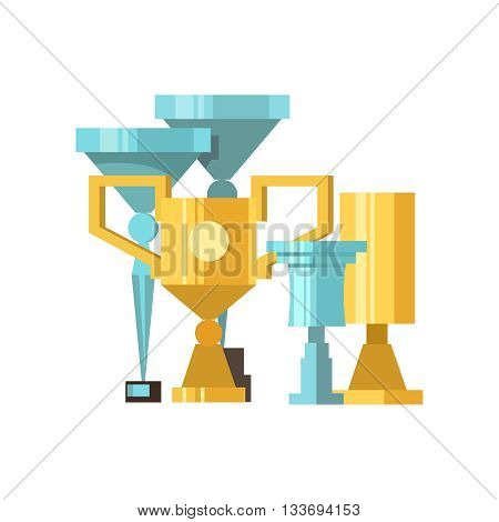 Gold and silver cups award trophy for the winner. Vector stok illustration
