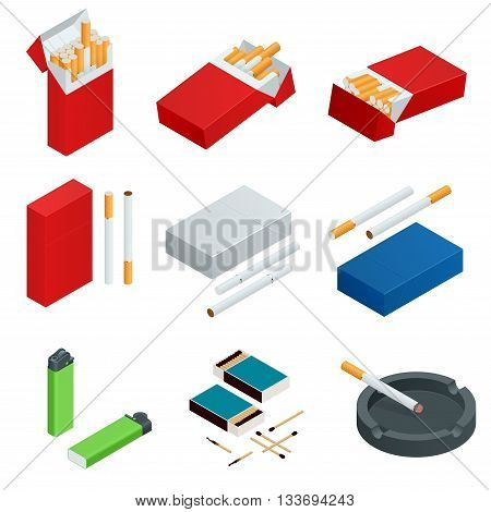 Box of matches, Lighters, cigarettes pack, cigarette. Flat 3d vector isometric illustration