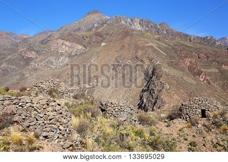Pre-incan Round Houses Named Colca Near Chivay In Peru