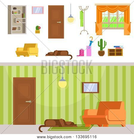 Interior hallway room design with door and floor hanger. Set of detailed interior room flat. Lying dog in interior room. Interior hallway room in green and brown colors.