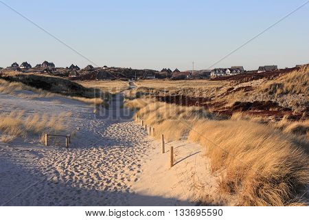 Path through the dunes on the island of Sylt in the evening light