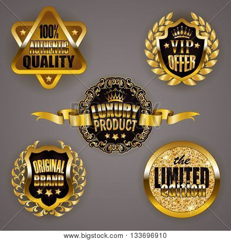 Set of gold badges with laurel wreath, star. Limited edition, 100 authentic quality, vip offer, luxury product, original brand. Emblems, logo, icons, medals for web, page design. Illustration EPS 10