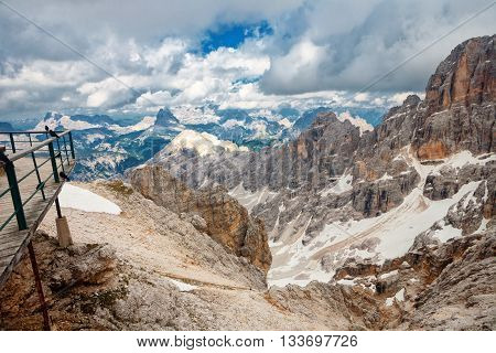 Peaks of the Monte Cristallo Massif in the Dolomites from the Bianca Peak near to Cortina Italy