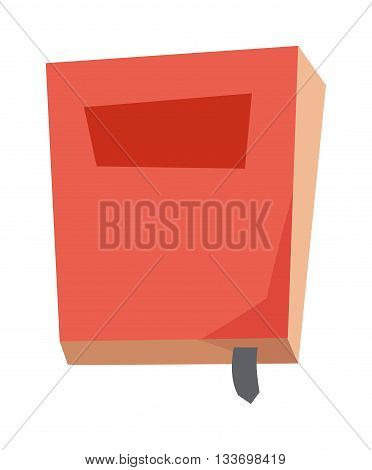 Red book on white background and vector red book. Cover paper education red book and learning hardcover red book. Empty read red book library information study textbook. Learn paper sheet old design.