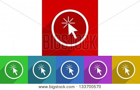 click here vector icons set, colored square flat design internet buttons