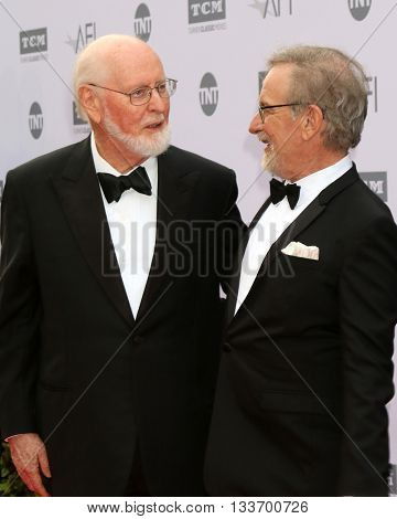 LOS ANGELES - JUN 9:  John Williams, Steven Spielberg at the American Film Institute 44th Life Achievement Award Gala Tribute to John Williams at the Dolby Theater on June 9, 2016 in Los Angeles, CA