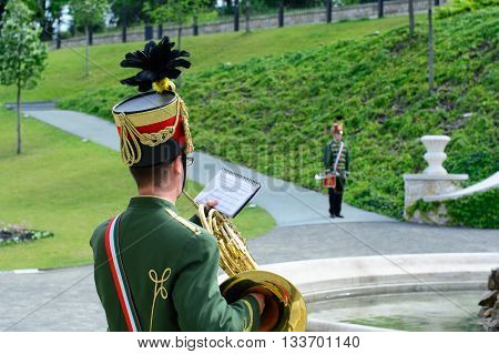Budapest Hungary - June 04 2016: Hungarian hussar musicians in Budapest castle