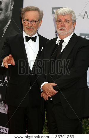 LOS ANGELES - JUN 9:  Steven Spielberg, Geroge Lucas at the American Film Institute 44th Life Achievement Award Gala Tribute to John Williams at the Dolby Theater on June 9, 2016 in Los Angeles, CA