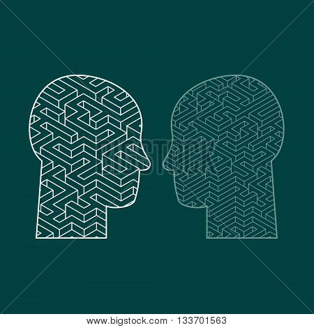 Human intelligence puzzle with a maze in the shape of a human head as a symbol of the complexity of brain thinking as a challenging problem to solve by medical doctors. Flat design vector illustration