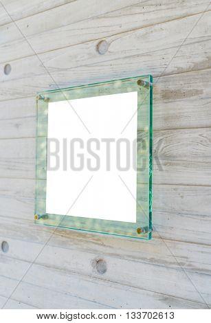 Transparent glass sign