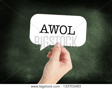 Awol in a speech bubble