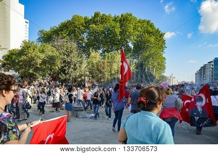 Istanbul Turkey - June 9 2013: A wave of demonstrations and civil unrest in Turkey began on 28 May 2013 initially to contest the urban development plan for Istanbul's Taksim Gezi Park.
