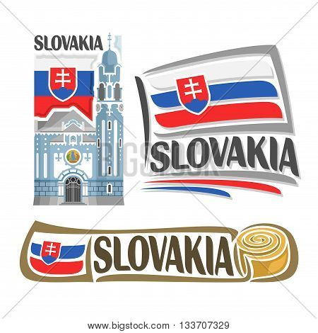 Vector logo Slovakia,3 isolated illustrations: Blue Church of St. Elizabeth in Bratislava on background national state flag, symbol Slovakia Republic and slovak flag beside slovakian parenica close-up