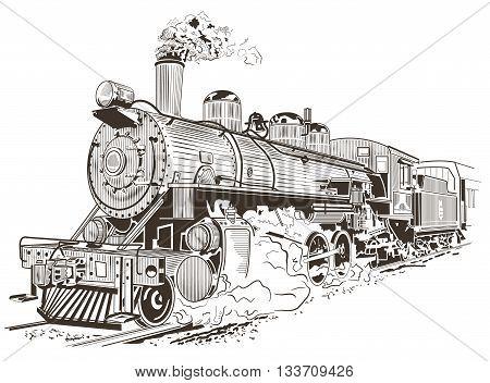 Old steam locomotive. Vector illustration, vintage style