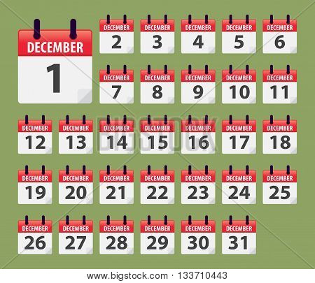 Vector stock of December Daily Calendar template icon collections