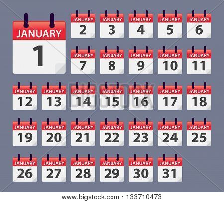 Vector stock of January Daily Calendar template icon collections