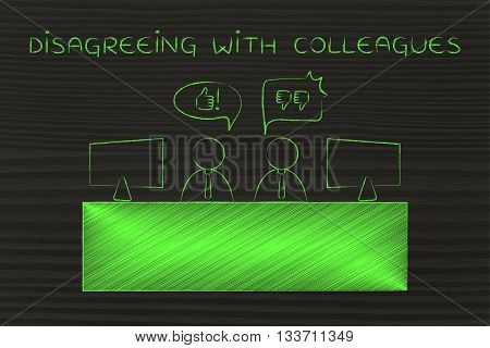 Workers Expressing Contrasting Opinions, Disagreeing With Colleagues