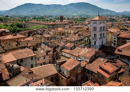 Amazing scenic view of Lucca and San Michele church from Torre dell Orologio Lucca Tuscany Italy.