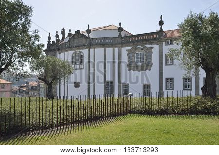 Side facade of Clerigos church seen from Lisbon Plaza in Porto Portugal