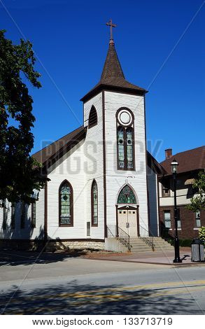 The former St Mary's Catholic Church, originally built as a Universalist church in 1836, now abandoned in downtown Plainfield.
