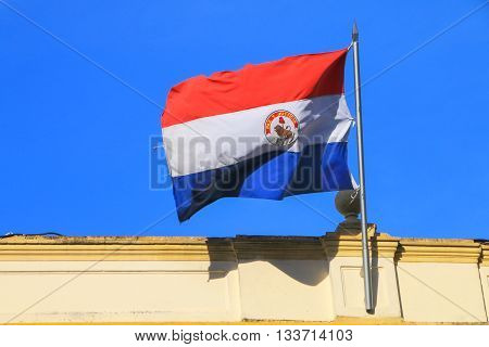 National Flag Flying Above Building In Asuncion, Paraguay