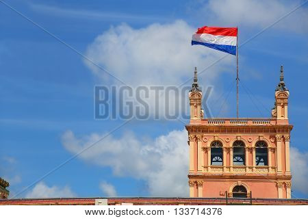 National Flag Flying Above Presidential Palace In Asuncion, Paraguay