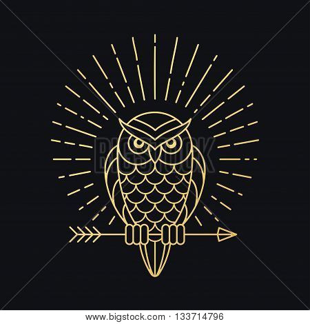 Owl outline emblem in geometric hipster style with arrow and beams. Golden symbol on black background. Vintage vector illustration.